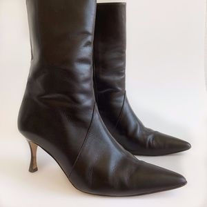 Manolo Blahnik Leather Midcalf Boots Size 39